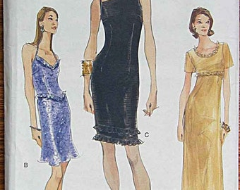 RARE Misses' Dresses, Halter, Evening Gown, Vogue 9842 Sewing Pattern UNCUT Sizes 12-14-16