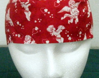 Red Skull Cap w Cupids, Chemo Cap, Valentines, Hats, Biker, Do Rag, Bandanna, Head Wrap, Motorcycle, Helmet Liner, Surgical Cap, Alopecia
