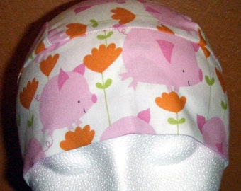 White Skull Cap w Pink Pigs, Handmade, Chemo Cap, Head Wrap, Helmet Liner, Orange Flowers, Spring, Motorcycle, Hair Loss, Surgical, Alopecia