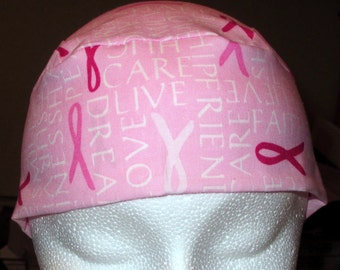 Pink Chemo Cap with Pink Ribbons and Encouraging Words, Skull Cap, Cancer, Hair Loss, Hats, Head Wrap, Bandana, Do Rag, Biker, Handmade
