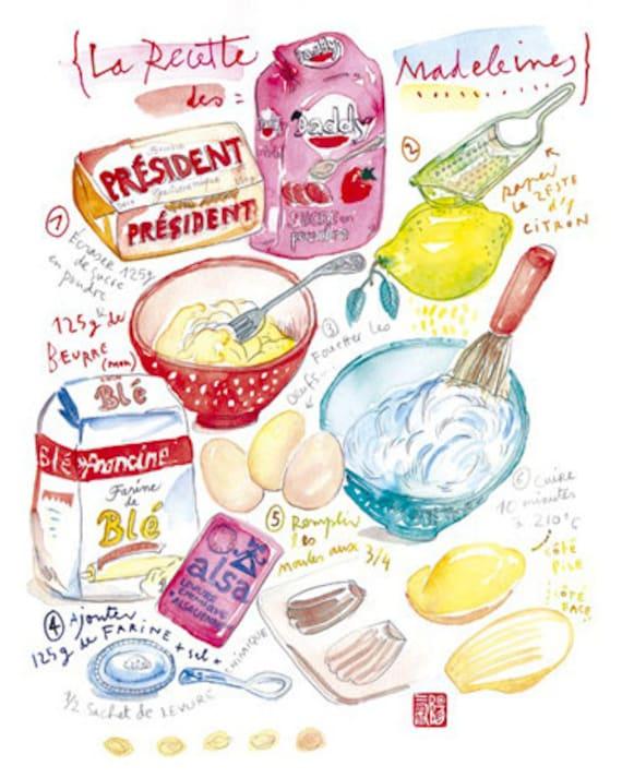 Madeleines illustrated recipe print, Kitchen art, French cake recipe illustration poster,  8X10 food print, Kitchen decor, Bakery print