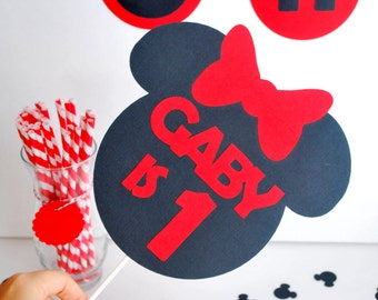Minnie mouse set, Happy Birthday, Minnie mouse party set , banner, centerpiece, cupcake toppers and more A498