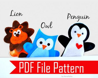 3 Handpuppet Sewing Pattern, Pdf sewiing Pattern for Lion, Owl and Penguin Hand puppet - 3 Puppet Pattern PDF File  Instant Download A510