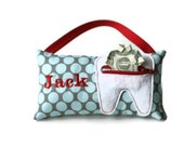 Boy's Blue and Gray Polka Dot Personalized Tooth Fairy Pillows