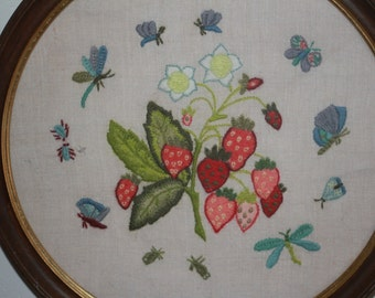 Needlepoint Wall Hanging Strawberry Plant and Butterflies