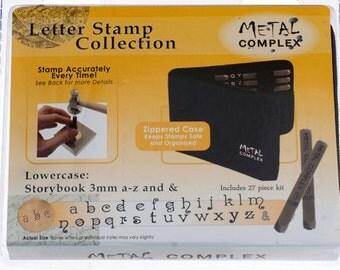 Metal Stamping Set-Metal Stamp Kit in Storybook Font 3mm Lowercase-Alphabet Letter Stamp Set-by Metal Supply Chick-Jewelry Stamping Supplies