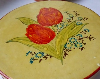 Boxed Set of 8 OCCUPIED JAPAN Handpainted Red Tulip Coasters FREE Shipping