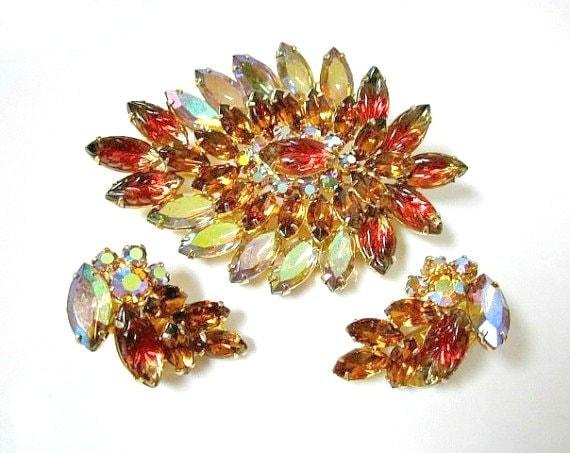 Vintage Brooch Pin Earrings Set Watermelon Molded Glass AB Rhinestones