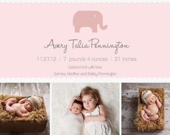 Elephant Tri Photo Birth Announcement BOY GIRL ELEPHANT
