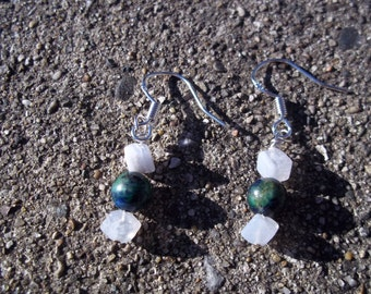 Blue Lace Agate Earrings, Speak LOVE, Healing Stone, Chrysocolla with Pyrite and Azurite Inclusions, Sterling Silver, Gemstone Synergy