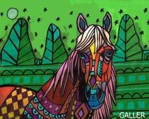 Horse art Art Print Poster by Heather Galler  Landscape Modern Abstract (HG516)