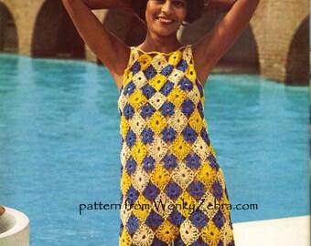 Vintage Crochet Patchwork Dress Pattern PDF 617 from WonkyZebra