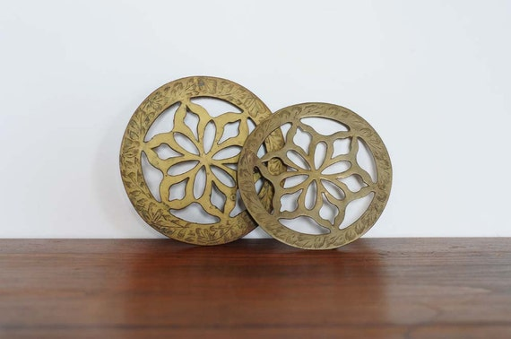 Vintage trivets / hot plate / mid-century modern engraved brass matching pair