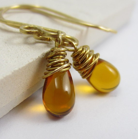 Amber Glass Earrings, Antique Brass Wire Wrapped Crystal Teardrops, Autumn Jewelry