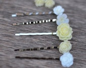 Cream and White flower bobby pins - earrings - bridal - elegant