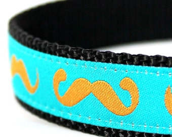 Gold Mustache Dog Collar / Gold Mustache on Teal Blue / Handmade / Adjustable