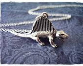 Silver Dimetrodon Necklace - Sterling Silver Dimetrodon Charm on a Delicate 18 Inch Sterling Silver Cable Chain