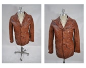 vintage leather jacket vintage leather coat blazer size 36