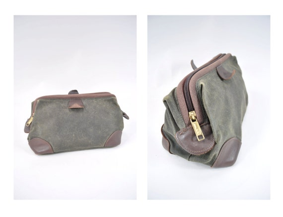 Vintage Leather Waxed Canvas Ll Bean Toiletry Bag Cosmetic