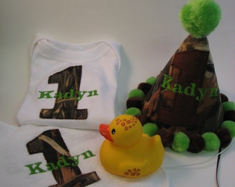 Duck Dynasty Birthday Party Hat, Shirt and Bib,Set of Three, Real Tree or Mossy Oak, Custom, First Birthday,Camoflauge, Camo Hat