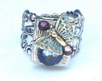Steampunk Butterfly Locket Ring