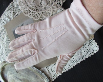 Vintage Pink Stretch Nylon Shalimar Gloves - 8.5 Inches Long (G07)