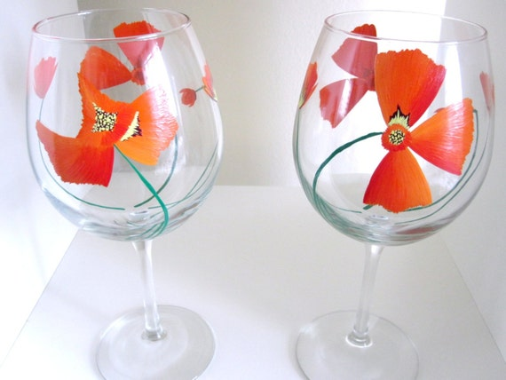 California Poppy Hand Painted Wine Glasses - Set of 2 - Stemmed or Stemless
