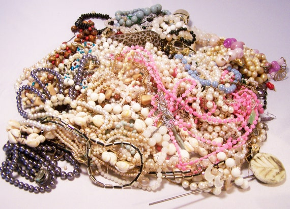 3.3 Pound Broken Vintage Bead Necklaces and More Repurpose Crafts Altered Art