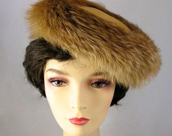 Vintage Joseph Magnin Designer Fox Fur & Felt Hat - Free USA Shipping