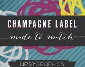 Custom Champagne Label Design. Personalized Prosecco Label Design. Mini Wine Stickers Made to Match any Tipsy Graphics Design