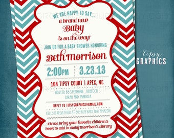 Red & Teal Gender Neutral Chevron Baby Shower Party Invitation by Tipsy Graphics. Birthday Bridal Baby