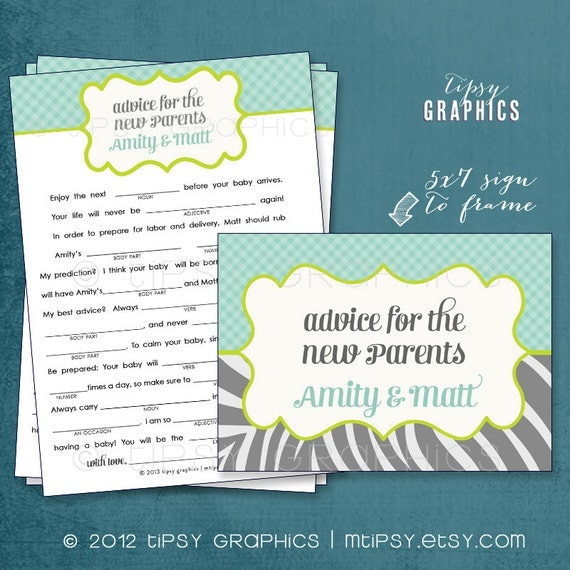 Zebra & Gingham Style MadLibs By Tipsy Graphics. Madlib. AdLib. Baby Wishes. Baby Statistics. Printable Cards, any Colors