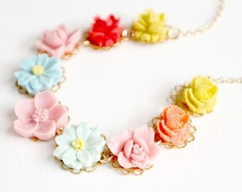 Flower Girl Necklace, Colorful Flower Necklace For Girls, Girls Flower Necklace, Pastel Necklace, Easter necklace