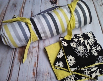 Picnic Blanket with 4 napkins - Modern Fabrics, Charcoal Grey, Lime and Ivory - Wedding Gift