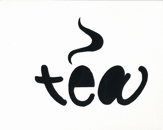 Tea 8x10 Hand Pulled Silkscreen Word Art Print