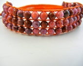 Adjustable Beaded Bracelet, Jade Bracelet, Pink Jade Bracelet, Bead woven Bracelet, Adjustable Bracelet