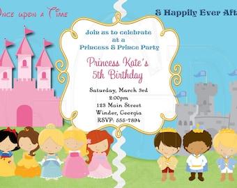 Princess and Prince Invitation -Digital File