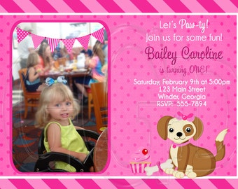 PINK Puppy Invitation Birthday -Digital File