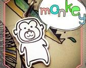 Doodle Monkey Sterling Silver Pendant