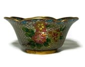 Chinese Vintage Plique A Jour Small Bowl Scalloped Stained Glass