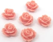 100 pcs. Resin Cabochons, Flower, Pink peach , 10mm (PRB780Y-10)
