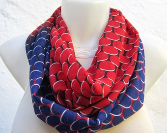 Loop infinity Scarf, Geometric Circle Scarves, Chiffon Necklace Scarf, Tube Accessories, Neckwarmer, Red, Blue, White, Black