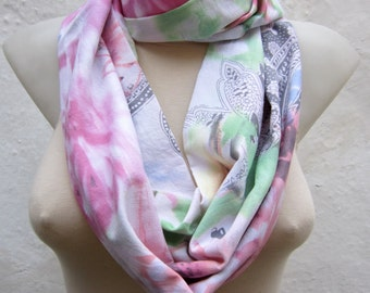 Pastel Floral Print, infinity Scarf, Loop Scarves, Circle Fabric Neckwarmer, Neck Accessories, Winter Fashion, White Pink Blue, Gift for her