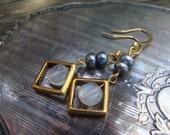 Moonstone, Peacock Freshwater Pearl Beaded Gold Window Earrings