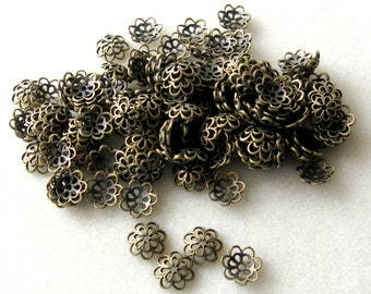 Antiqued Brass Fancy Bead Caps Spacers Findings , Jewelry Making,  14mm, (24)