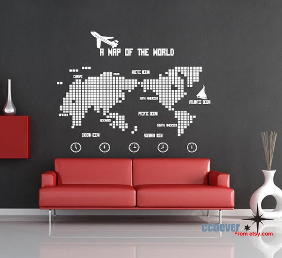 Items similar to World Map Bedroom Children Room