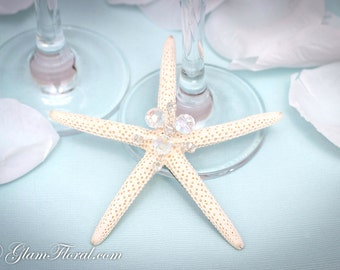 Natural Starfish Fascinator, in cream white light ivory, Wire wrapped Fired Czech AB Glass Crystals or pearls-  Pencil Starfish