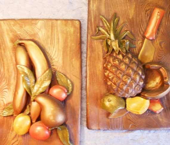 Vintage Tropical Fruit Kitchen Plaques With Gold By Anyoldtime