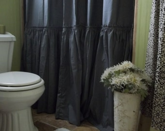 Shabby Chic Ruffled - Charcoal Gray Shower Curtain