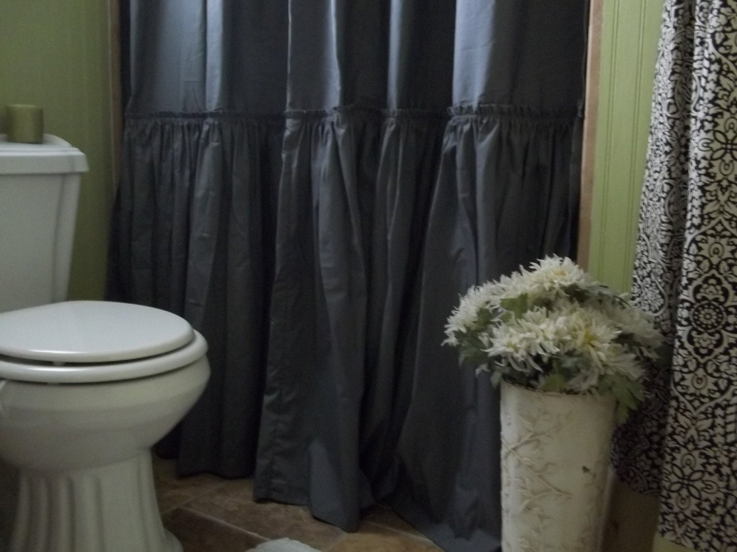 zoom Shabby Chic Ruffled Charcoal Gray Shower Curtain
